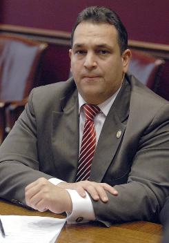 New York state Sen. Hiram Monserrate, D-Queens, speaks with reporters at the Capitol in Albany, N.Y., on Monday.